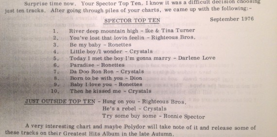 Members of the Phil Spector Appreciation Society (PSAS) sent in their personal top 10 in 1976. Here are the results.