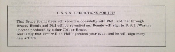 The PSAS predict a bright future for Spector at the end of 1976.